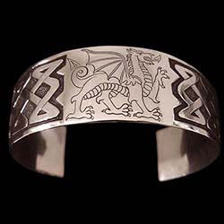 Sterling Silver Cuff Bracelet Engraved With Celtic Dragon