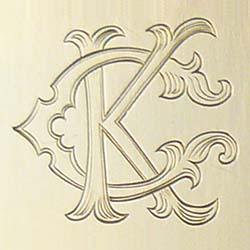 Fancy Two Letter Monogram Engraving - Letters K & C
