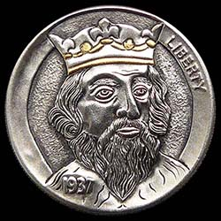 Hobo Nickel Engraved With The King, A Bearded Man Wearing A Gold Crown