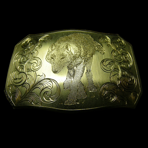 Brass Belt Buckle Engraved With Stalking Wolf Surrounded By Leaf Border