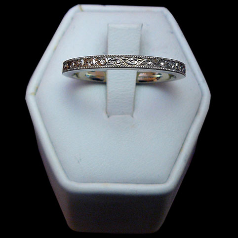 14 Karat White Gold Ring Engraved With Scrolls And Beaded Edge