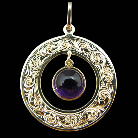 Amethyst And Gold Pendant With Bright Cut Border Engraved With Running Scroll