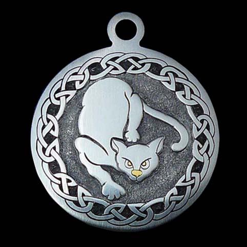 Pendant Engraved With Cat With Gold Eyes And Nose Surrounded By Celtic Knot Border