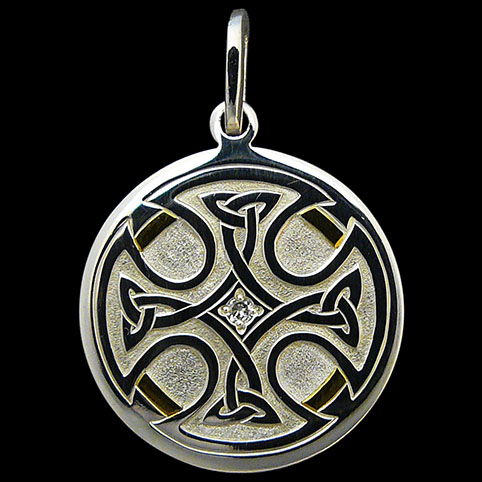 Sterling Silver Pendant Engraved With Celtic Cross With Partial Gold Border And Diamond Center