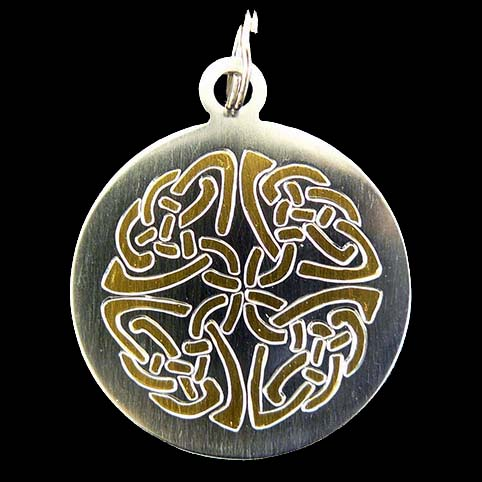 Gold Celtic Knotwork Engraved Stainless Steel Pendant