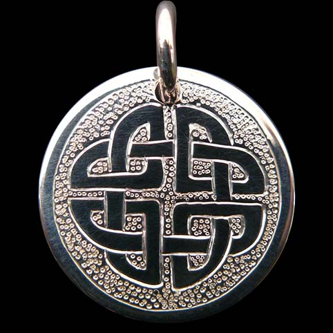 Sterling Silver Pendant Engraved With Celtic Knot And Punched Dot Background