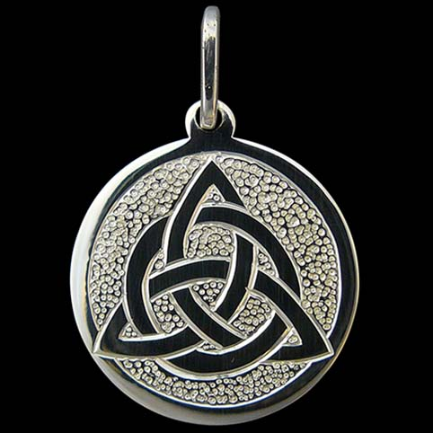 Sterling Silver Pendant Engraved With Celtic Knot Interwoven With A Circle With Punch Dot Background
