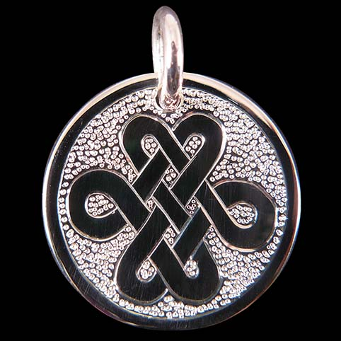 Pendant Engraved With Celtic Knot (Snakelike) And Punched Dot Background