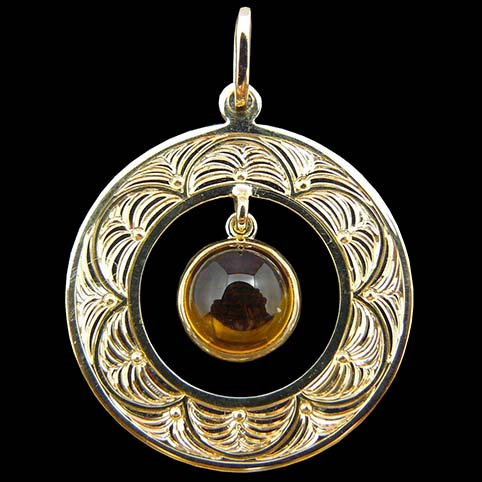Dangling Citrine Gem And Gold Pendant Border Engraved With Circular Fan