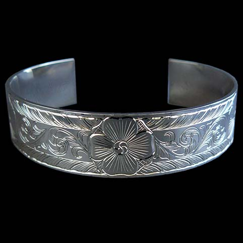 Flowers Engraved On Sterling Silver Bracelet With Leaf Border And Running Scroll