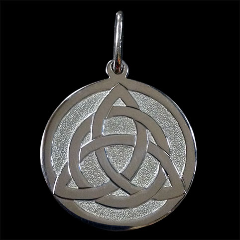 Pendant Made From Sterling Silver Engraved With Celtic Knot Interwoven With A Circle With Punch Dot Background