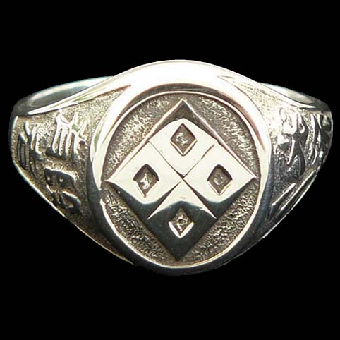 Sterling Silver Signet Ring Engraved With Hakko-ryu Jujutsu Crest And Kanji