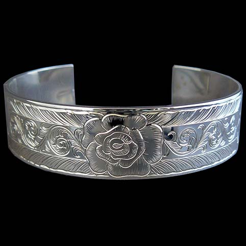 Sterling Silver Cuff Bracelet Engraved With Roses, Leaf Border, And Running Scroll Center