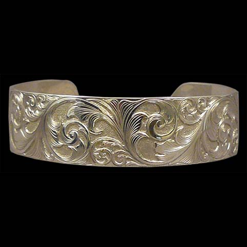 Sterling Silver Cuff Bracelet With Running Leaf Scroll Design