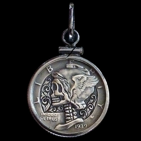 Mercury Dime Pendant Engraved With Skull Set In Sterling Silver Coin Bezel