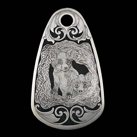 Stainless Steel Key Fob Engraved With Fox Kit, Two Fox Puppies