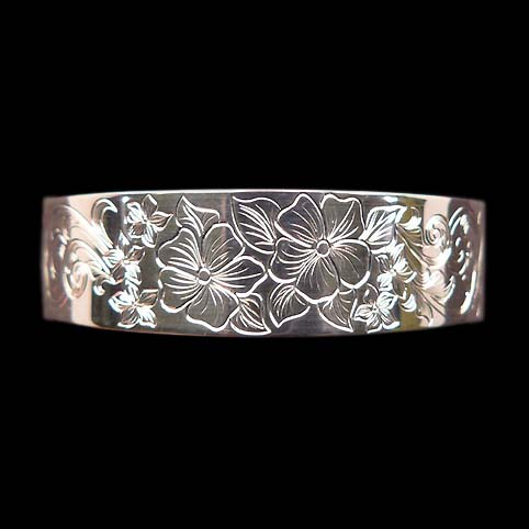 Sterling Silver Cuff Bracelet Engraved With Flowers