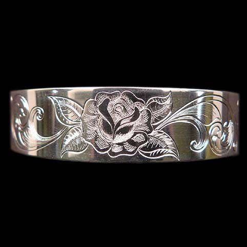 Sterling Silver Cuff Bracelet Engraved With Rose