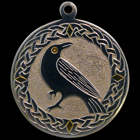 Sterling silver 24 karat yellow gold celtic crow pendant sterling silver pendant engraved with crow surrounded by celtic knot border with cardinal directions represented by mozeypictures Image collections