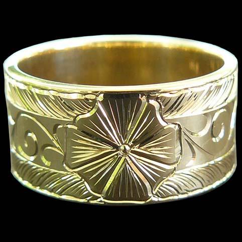 Hand Engraved 14 Karat Yellow Gold Ring Band Armstrong Engraving