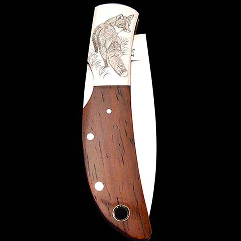 Knife Engraved With Red Fox Standing In Long Grasses Looking Back Over Shoulder