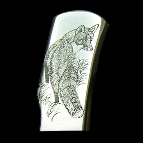 Closeup Of Fox Engraving - Other View Of Red Fox Engraved Knife