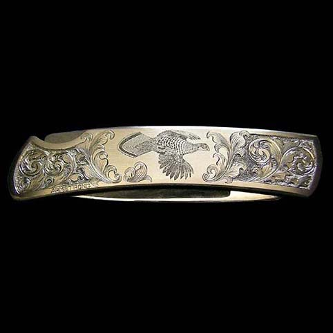 Knife Engraved With Grouse In Flight Surrounded By Leaf Scroll