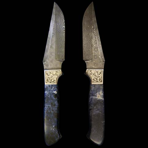 Scroll Engraved Knife With Blue Sodalite Handle