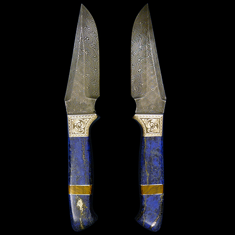 Damascus Steel Knife With Lapis Lazuli Handles And Engravings Of Traditional Scroll, Leaf Border