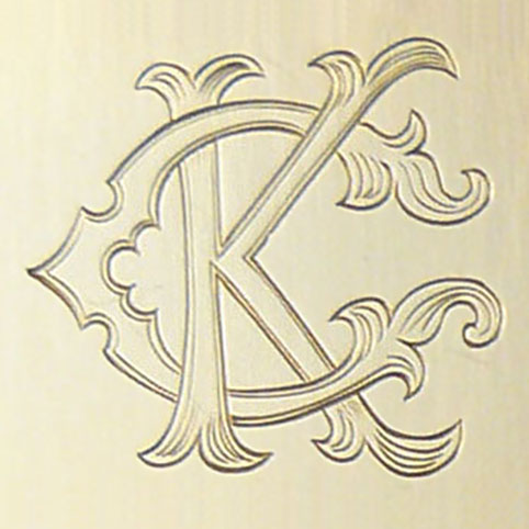 fancy two letter monogram letters k and c