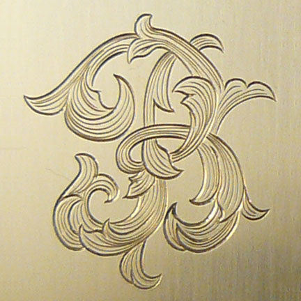 Letter B Monogram Done In Leaf Script Engraving