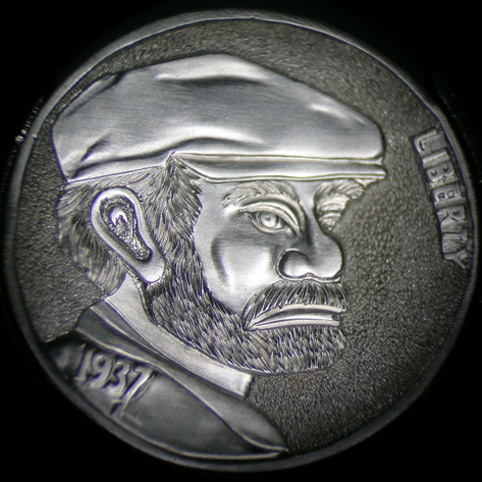 Hobo Nickel Engraved With A Bearded Hobo Named Joe Wearing A Cap