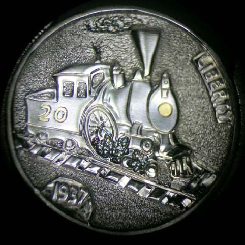 Hobo Nickel Engraved With Smoke Belching From The Smokestack Of A Train, Little Hobo Engine, With Gold Inlay Light And Engine Number 20, Riding Railroad Tracks