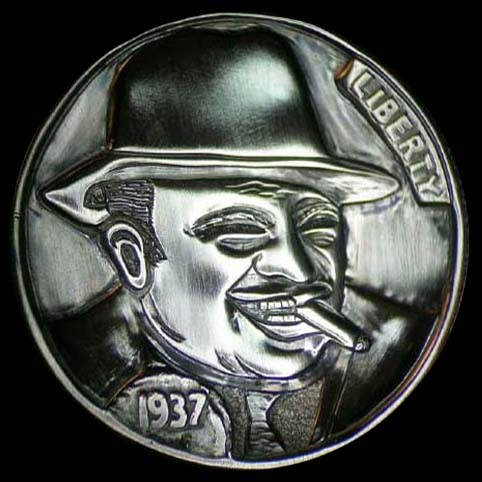 Hobo Nickel Engraved With A Man, Al Capone, Wearing A Fedora Hat With A Cigar In His Mouth