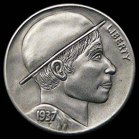 Profile Of Amish Boy Wearing Amish Style Hat Engraved Coin