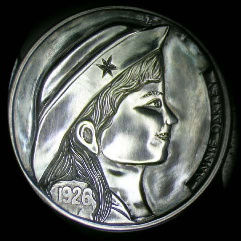 Hobo Nickel Engraved With A Woman, Annie Oakley, With Long Hair And Hat With A Star On It