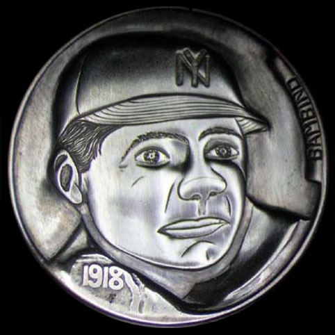 Hobo Nickel Engraved With Babe Ruth, Boston Red Sox Logo, And Curse Written In Reverse
