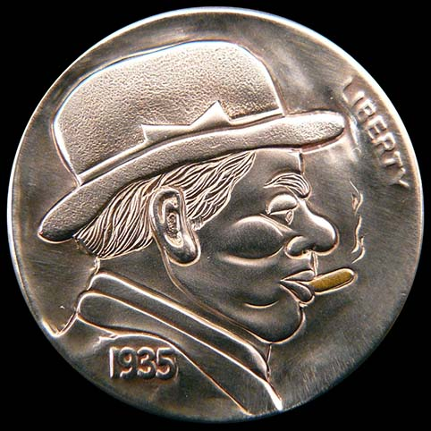 Boss Is A Profile of Man Wearing Hat While Smoking A 14 Karat Gold Cigar Engraved On A Coin