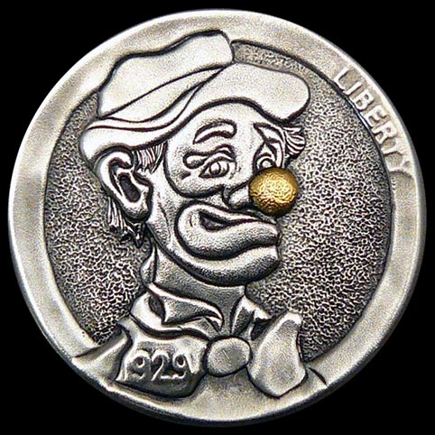 Bow Tie Beau Clown With Gold Nose Engraved Coin