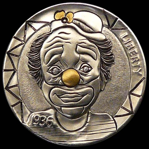 Bright Eyes The Clown With Gold Nose Engraved On A Coin
