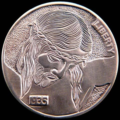 Hobo Nickel Engraved With Christ's Sacrifice & Calvary (Golgotha)