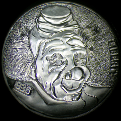 Hobo Nickel Engraved With A Clown Sporting A Bulbous Nose, Small Hat, And Clown Hair