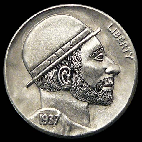Denny Hobo Nickel, Profile of Man with Bowler Hat and Beard Engraved on Coin