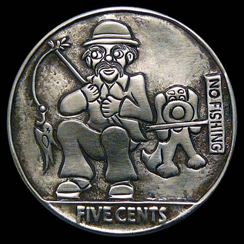 Hobo Nickel Engraved With Dusty, A Hobo, And Digger, His Dog Fishing With No Fishing Sign