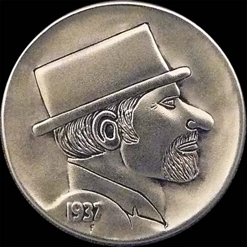 Hobo Nickel Engraved With Flat Top, The Profile Of A Bearded Gentleman Hobo Wearing A Flat Top Hat