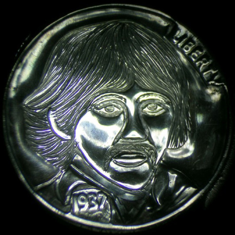 Hobo Nickel Engraved With George Harrison Of The Beatles Showing A Man With Shoulder Length Hair And Mustache