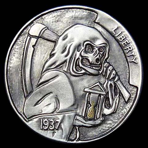 Hobo Nickel Engraved With Grim Reaper Holding Hour Glass Inlaid With Gold