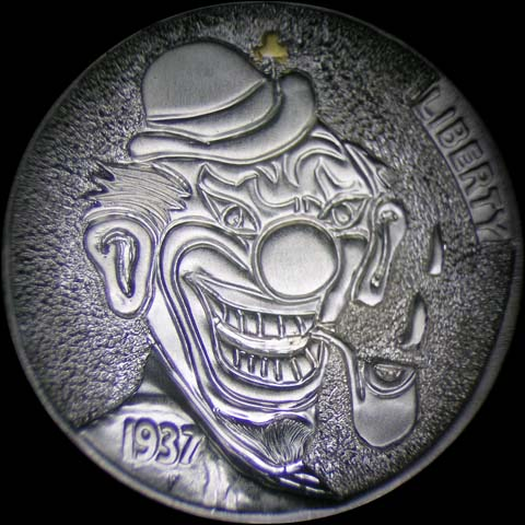 Hobo Nickel Engraved With Grinning O'Grady With Gold Inlay Shamrock, Big Smile, And Pipe