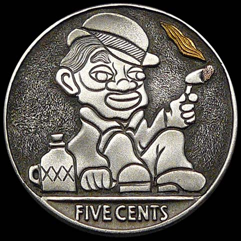 Hobo Nickel Engraved With A Hatted Man Sitting On The Ground Next To A Jug Of Moonshine (XXX) While Holding A Smoldering Cigar.