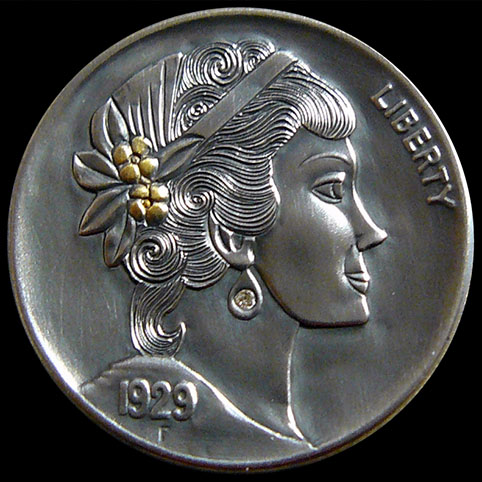 Hobo Nickel Engraved With A Beautiful Woman With Gold Flowers In Her Hair And A Diamond Earring